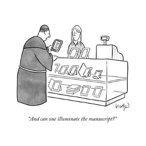 """""""And can one illuminate the manuscript?"""" - New Yorker Cartoon by Robert Leighton"""
