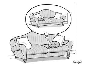 Cat on a couch dreaming about being on the other side of the couch. - New Yorker Cartoon by Robert Leighton