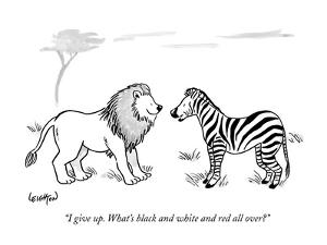 """""""I give up. What's black and white and red all over?"""" - New Yorker Cartoon by Robert Leighton"""