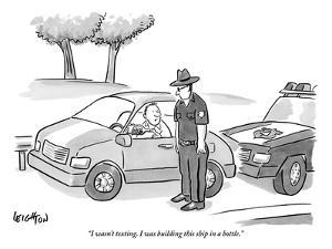 """I wasn't texting. I was building this ship in a bottle."" - New Yorker Cartoon by Robert Leighton"