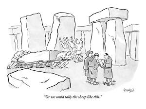 """""""Or we could tally the sheep like this."""" - New Yorker Cartoon by Robert Leighton"""