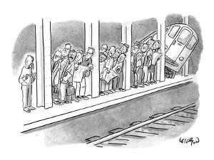 People waiting for a subway peek onto the tracks in anticipation of its ar? - New Yorker Cartoon by Robert Leighton