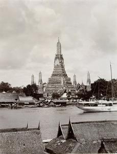Wat Arun with Chao Phraya River, 1890 by Robert Lenz