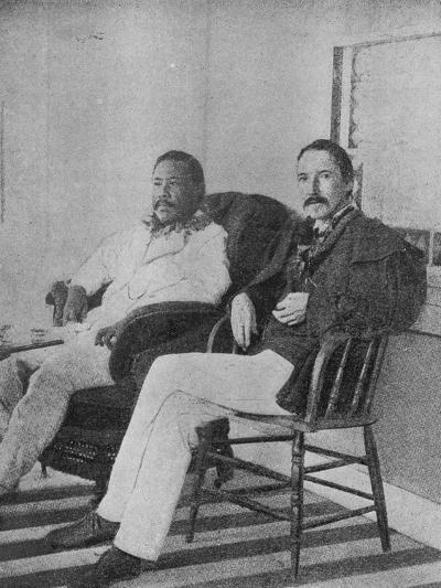 Robert Louis Stevenson with King Kalakaua of Hawaii on the Verandah of the Royal Boat House at…--Photographic Print