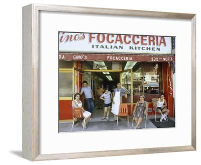 A Family Sits Outside Gino Pollari's Italian Restaurant in Brooklyn
