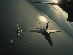 FA-18 Navy Jets in Flight over the Chesapeake Bay by Robert Madden
