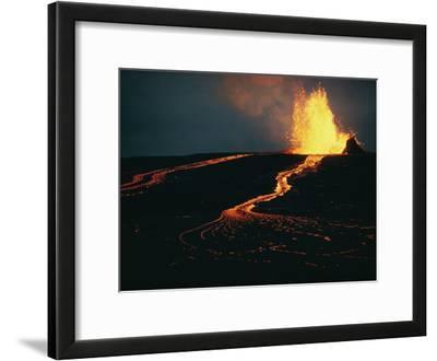 Mauna Ulu Erupting in the Kilauea Crater at Mauna Loa