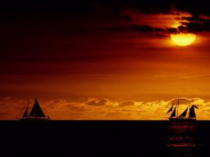 Sailboats Silhouetted on the Pacific Ocean at Twilight by Robert Madden