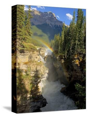 A Vertical Image of the Athabasca Falls on the Athabasca River with a Colorful Rainbow and Mount Ke
