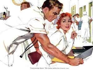 """Even Doctors Are Human  - Saturday Evening Post """"Leading Ladies"""", April 3, 1954 pg.26 by Robert Meyers"""