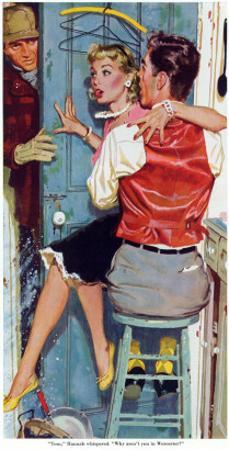 """The Undecided Blonde  - Saturday Evening Post """"Leading Ladies"""", January 29, 1955 pg.p24"""