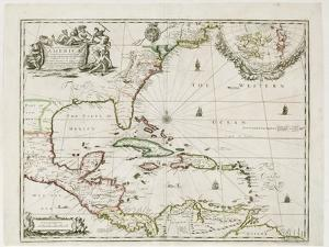 A New Map of the English Plantations in America, 1673 (Coloured Engraving) by Robert Morden