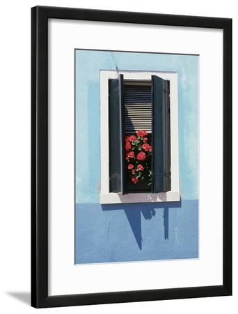 Windowwith Venetian Blinds and Shutters on Blue Wall. - Burano, Venice
