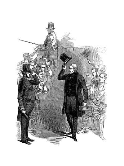 Robert Peel, British Statesman, Arriving at the House of Commons, London, January, 1846--Giclee Print