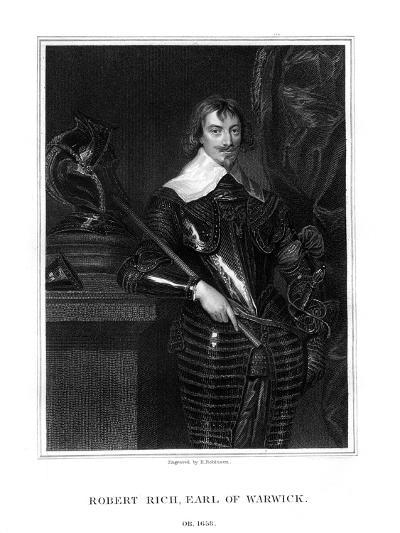 Robert Rich, 2nd Earl of Warwick, English Colonial Administrator-H Robinson-Giclee Print