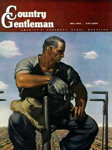 """""""Farmer on Tractor,"""" Country Gentleman Cover, May 1, 1944 by Robert Riggs"""