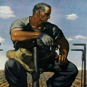 """Farmer on Tractor,""May 1, 1944 by Robert Riggs"