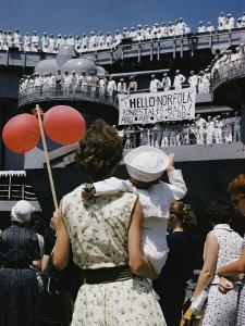 Family Members Welcome Home the U.S.S. Forrestal, an Aircraft Carrier by Robert Sisson