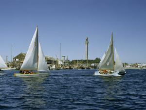 Sailboats Racing Off Provincetown Pass Tall Pilgrim Monument by Robert Sisson