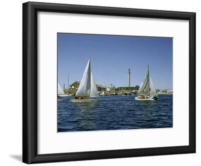 Sailboats Racing Off Provincetown Pass Tall Pilgrim Monument