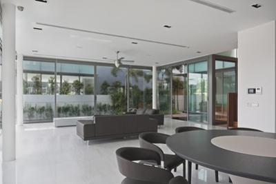 Open Plan Interior of Residential House on Sentosa Island, Singapore, South East Asia