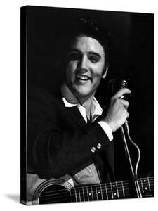 Rock Elvis Presley Performing One of His Hits on Stage During Concert by Robert W. Kelley