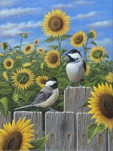 Chickadees and Sunflowers by Robert Wavra