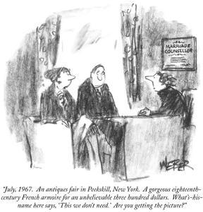 """""""July, 1967.  An antiques fair in Peekskill, New York.  A gorgeous eightee…"""" - New Yorker Cartoon by Robert Weber"""
