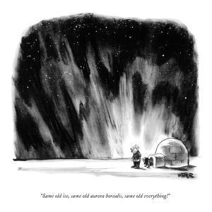 """Same old ice, same old aurora borealis, same old everything!"" - New Yorker Cartoon by Robert Weber"