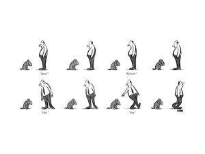 """""""Speak.""""""""Roll over.""""""""Heel.""""""""Stay."""" - New Yorker Cartoon by Robert Weber"""