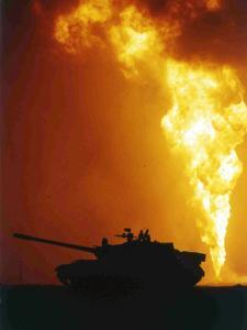 Kuwait Burning Oil Well by Roberto Borea