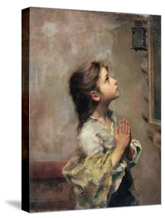 Praying Girl, Italian Painting of 19th Century by Roberto Ferruzzi