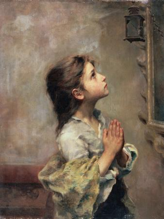 Praying Girl, Italian Painting of 19th Century