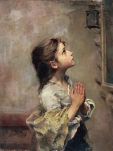 Praying Girl, Italian Painting of 19th Century by Roberto Ferruzzi