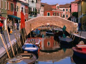Canal Lined by Colourful Houses, Venice, Burano, Veneto, Italy by Roberto Gerometta
