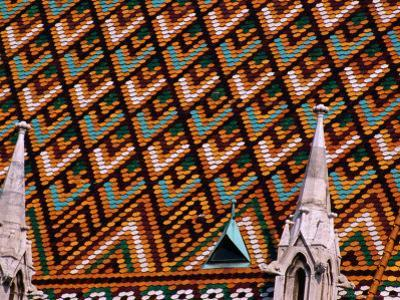 Detail of Roof of Matthias Church, Budapest, Pest, Hungary,