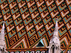 Detail of Roof of Matthias Church, Budapest, Pest, Hungary, by Roberto Gerometta