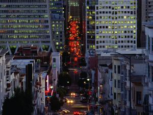 Downtown Traffic and Base of Transamerica Pyramid at Left, San Francisco, California, USA by Roberto Gerometta