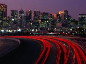 Freeway 280 and Skyline at Sunset, San Francisco, California, USA by Roberto Gerometta