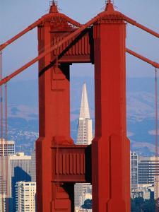 Golden Gate Bridge Tower and Transamerica Building, San Francisco, California, USA by Roberto Gerometta