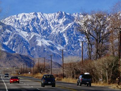 Highway 395 in Inyo County with the Eastern Sierras in Background, California, USA