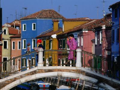 People Crossing Bridge Over a Canal, Burano, Veneto, Italy
