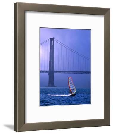 Sailboarder and Golden Gate Bridge, San Francisco, California, USA