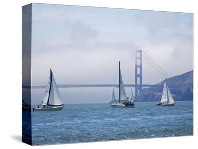 Sailing Boats with the Golden Gate Bridge and Summer Fog in Background, San Francisco, California