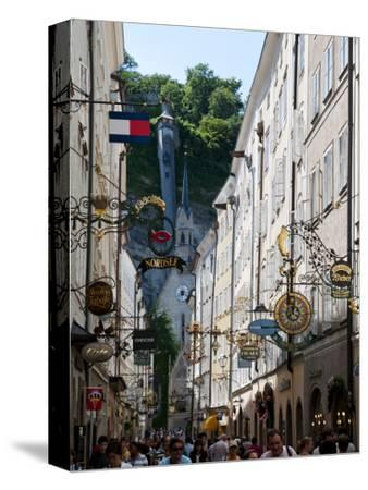 Shop Signs and Buildings on Getreidegasse Lane