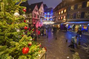 Colourful lights on Christmas trees and ornaments at dusk, Colmar, Haut-Rhin department, Alsace, Fr by Roberto Moiola