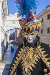 Colourful mask and costume of Carnival of Venice, Venice, Veneto, Italy, Europe by Roberto Moiola