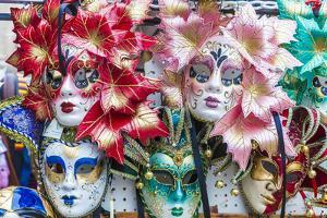 Colourful masks of the Carnival of Venice, famous festival worldwide, Venice, Veneto, Italy, Europe by Roberto Moiola