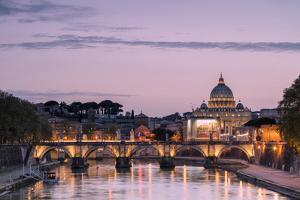 Dusk Lights on Tiber River with Bridge Umberto I and Basilica Di San Pietro in the Background, Rome by Roberto Moiola