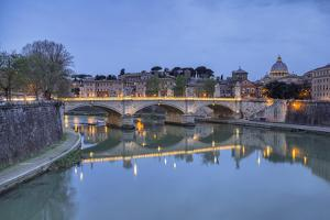 Dusk on Tiber River with Umberto I Bridge and Basilica Di San Pietro in Vatican in Background by Roberto Moiola